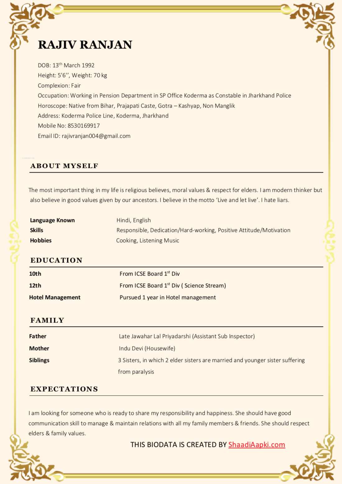 Bio11 creative premium marriage biodata with border template